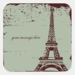 Pegatinas del boda de la torre Eiffel Pegatina Cuadradas Personalizadas