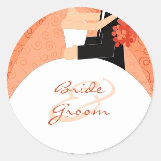 Pegatinas del boda de novia y del novio de la pegatina redonda