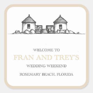 Pegatinas del boda de playa de Rosemary Pegatina Cuadrada