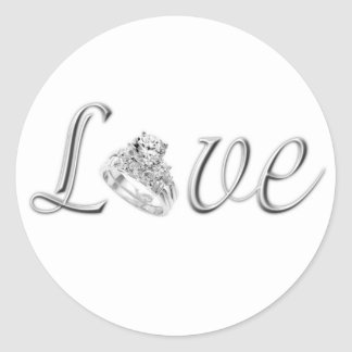 Pegatinas del boda del amor pegatina redonda