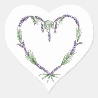 Pegatinas del boda del corazón de la lavanda pegatina en forma de corazón