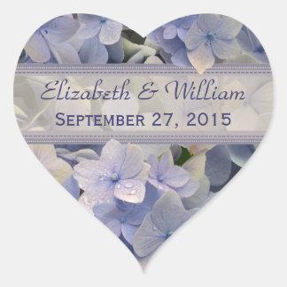 Pegatinas del boda del corazón del Hydrangea de la Pegatina En Forma De Corazón