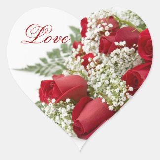 Pegatinas del boda del corazón del ramo de los pegatina en forma de corazón