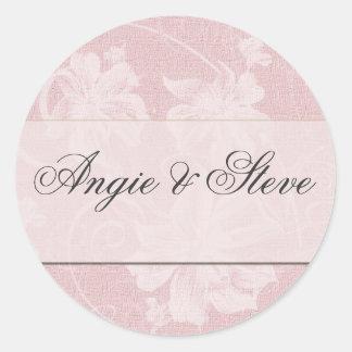 Pegatinas del boda del damasco del gris del rosa y pegatina redonda