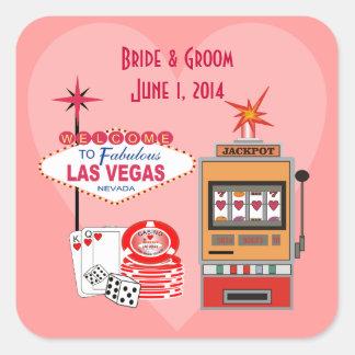 Pegatinas del boda del estilo de Vegas del amor Pegatina Cuadrada