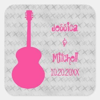 Pegatinas del boda del Grunge de la guitarra de Calcomanía Cuadrada Personalizada