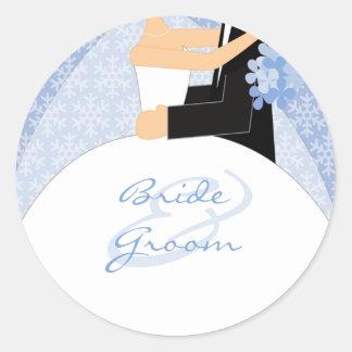 Pegatinas del boda del invierno etiquetas redondas