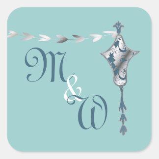 Pegatinas del boda del monograma de la urna de Nou