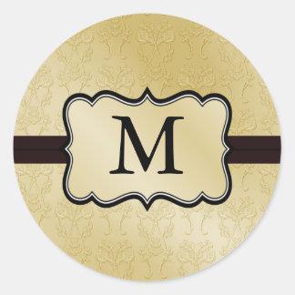 Pegatinas del boda del monograma del oro pegatina redonda