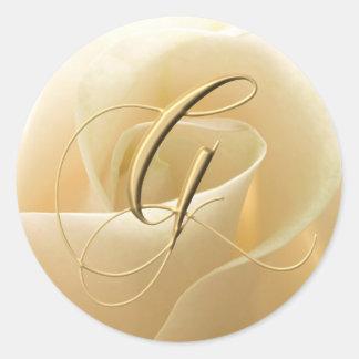 Pegatinas del boda del monograma - letra G Pegatina Redonda