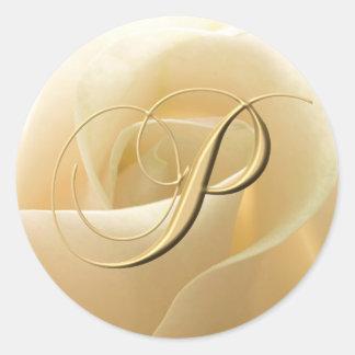 Pegatinas del boda del monograma - letra P Pegatina Redonda
