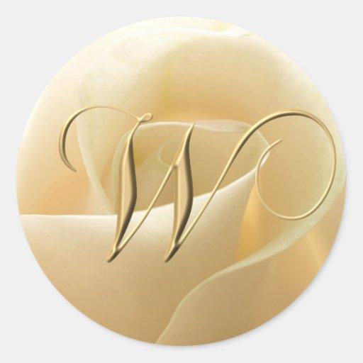 Pegatinas del boda del monograma - letra W Etiqueta Redonda