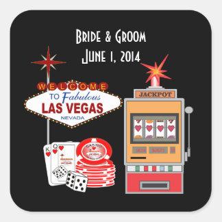 Pegatinas del boda del negro del estilo de Vegas Pegatina Cuadrada