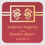 Pegatinas del boda del rojo y del oro colcomanias cuadradas personalizadas