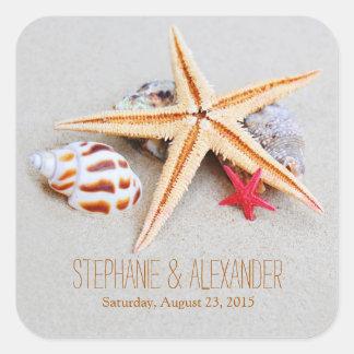 Pegatinas del boda del Seashell de las estrellas Pegatina Cuadrada