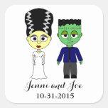 Pegatinas del boda del tema de Halloween Pegatina Cuadrada