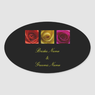Pegatinas del boda - rosa de rosas pegatina ovalada