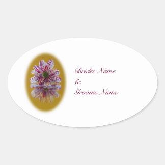 Pegatinas del boda - yello rosado de Gerbra de la Pegatina Ovalada