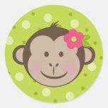 Pegatinas del bolso de Goodie del mono del lunar Pegatina Redonda