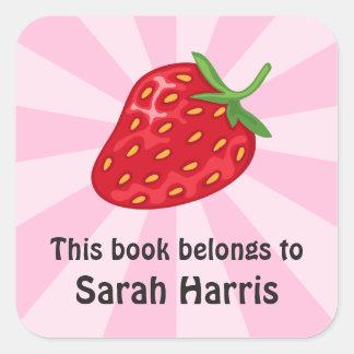 Pegatinas del bookplate de la fresa/etiquetas pegatina cuadrada