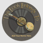 Pegatinas del Bookplate de la música del banjo Pegatina Redonda