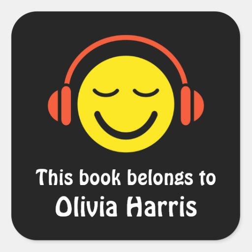Pegatinas del bookplate de la música feliz/etiquet
