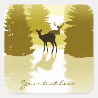 Pegatinas del bosque de los ciervos de la silueta pegatina cuadrada
