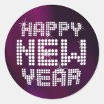 Pegatinas del brillo de la Feliz Año Nuevo Pegatinas Redondas