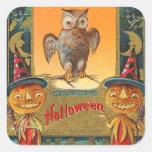 Pegatinas del búho de Halloween del vintage - Pegatina Cuadrada