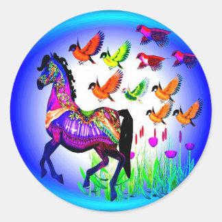 Pegatinas del caballo de la fantasía etiquetas redondas