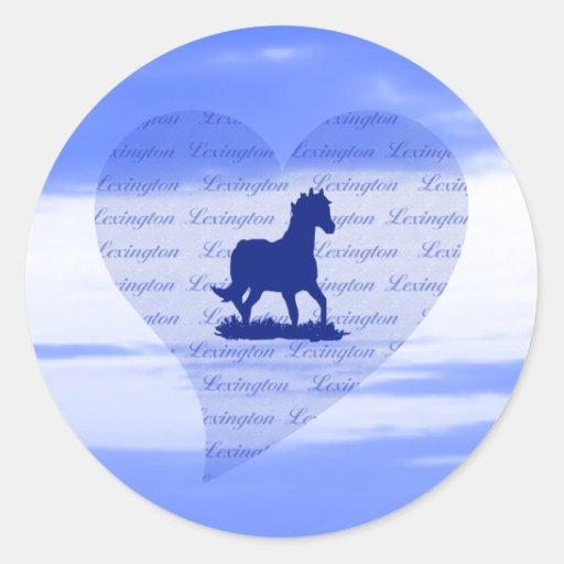 Pegatinas del caballo de Lexington KY para las Pegatinas Redondas