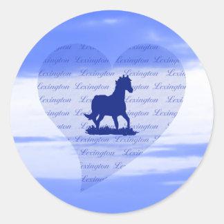 Pegatinas del caballo de Lexington KY para las Pegatina Redonda