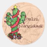 Pegatinas del cactus de navidad etiquetas redondas