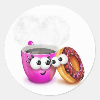 Pegatinas del café caliente y de un buñuelo pegatina redonda