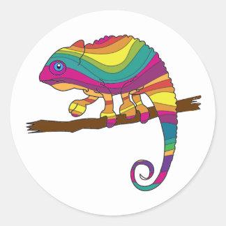Pegatinas del camaleón del arco iris pegatina redonda