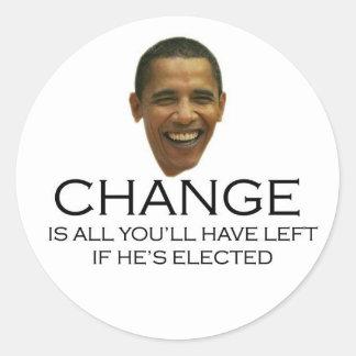 Pegatinas del cambio de Obama Pegatinas Redondas