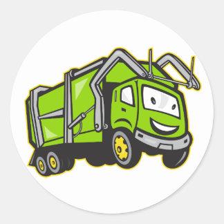 Pegatinas del camión de los desperdicios pegatina redonda