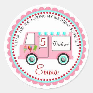 Pegatinas del camión del helado pegatina redonda