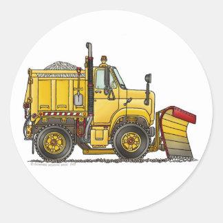 Pegatinas del camión del quitanieves pegatina redonda
