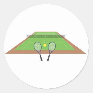Pegatinas del campo de tenis y de la estafa etiquetas redondas