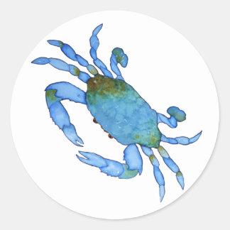 Pegatinas del cangrejo azul etiquetas redondas