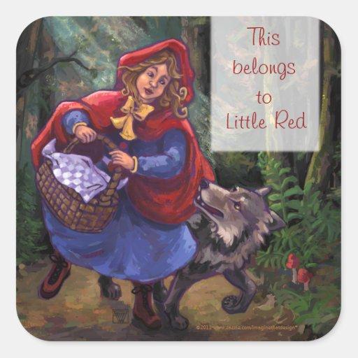 Pegatinas del Caperucita Rojo Colcomanias Cuadradass
