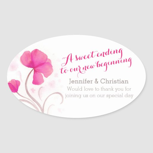Pegatinas del caramelo del boda del rosa del colcomanias oval