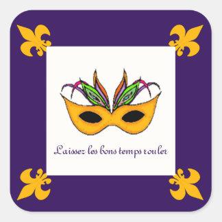 Pegatinas del carnaval de la máscara de la flor de pegatina cuadrada