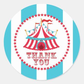 Pegatinas del carnaval, tienda de circo, gracias pegatina redonda