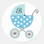 Pegatinas del carro de bebé azul pegatinas redondas