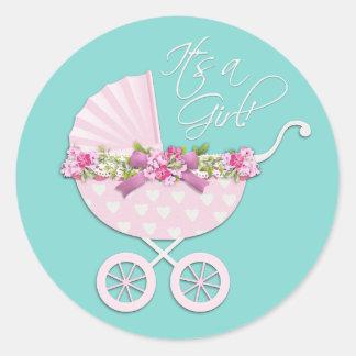 Pegatinas del carro de bebé azul del rosa y del pegatina redonda