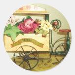 pegatinas del carro de la flor del vintage, sello pegatinas redondas
