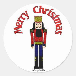 Pegatinas del cascanueces del navidad etiqueta redonda