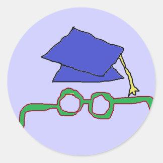 Pegatinas del casquillo de la graduación pegatina redonda